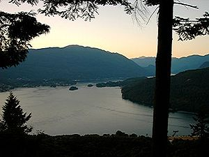 Indian Arm extends north (to the upper right o...