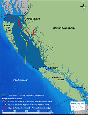 Proposed oil tanker routes to service the Nort...