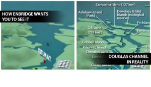 """Enbridge """"photoshops"""" islands out of BC's Douglas Channel"""