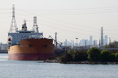 Oil tanker at Kinder Morgan pipeline terminal