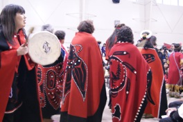 Annita McPhee (left), President of Tahltan Central Council, at the Sacred Headwaters celebration. Photo © Nikki Skuce