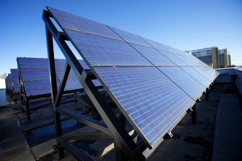 Seton's solar photovoltaic (PV) panel array in Calgary.