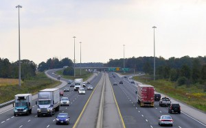 The Highway 401 / 402 interchange near London, Ontario. (Photo via Wikipedia.)